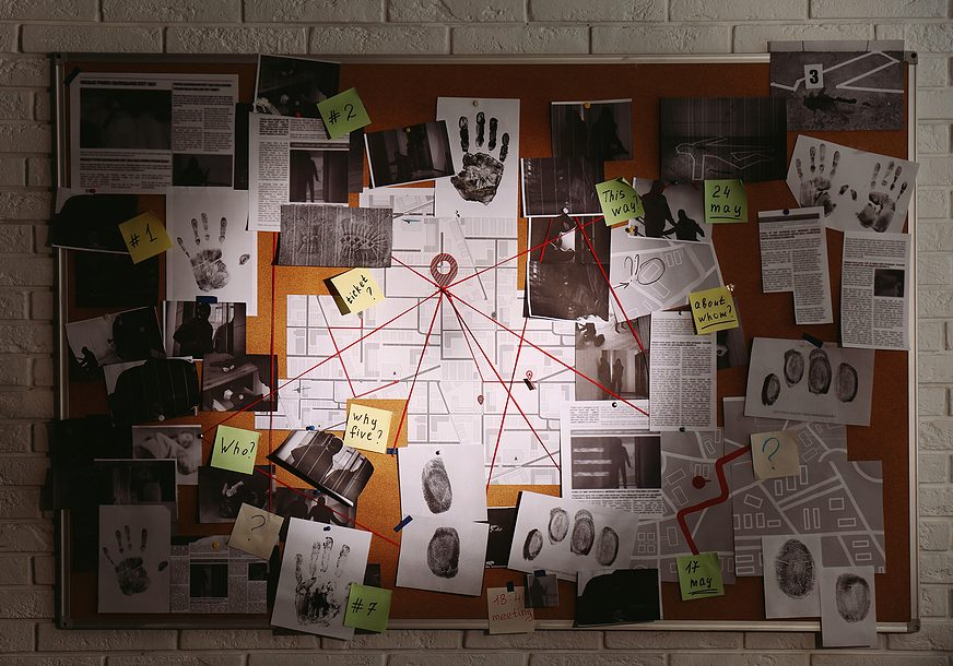 detective board with fingerprints, photos, map and clues connected by red string on white brick wall